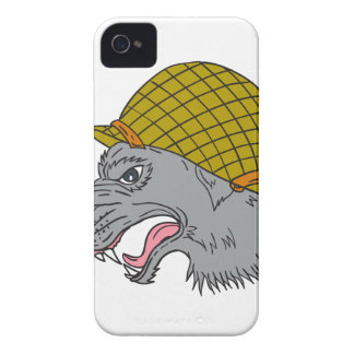 Grey Wolf Head Growling WW2 Helmet Drawing iPhone 4 Case