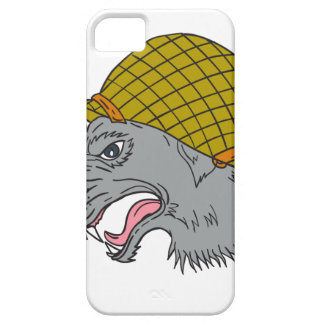 Grey Wolf Head Growling WW2 Helmet Drawing iPhone 5 Covers