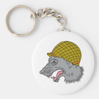 Grey Wolf Head Growling WW2 Helmet Drawing Keychain