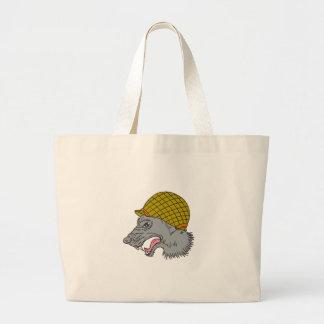 Grey Wolf Head Growling WW2 Helmet Drawing Large Tote Bag