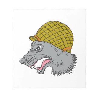 Grey Wolf Head Growling WW2 Helmet Drawing Notepad