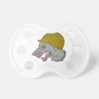 Grey Wolf Head Growling WW2 Helmet Drawing Pacifier