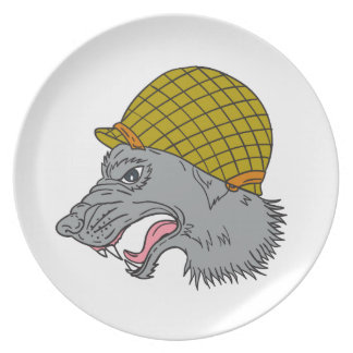 Grey Wolf Head Growling WW2 Helmet Drawing Plate