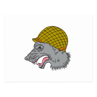 Grey Wolf Head Growling WW2 Helmet Drawing Postcard