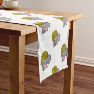 Grey Wolf Head Growling WW2 Helmet Drawing Short Table Runner