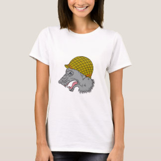 Grey Wolf Head Growling WW2 Helmet Drawing T-Shirt