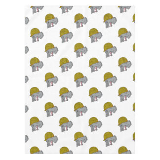 Grey Wolf Head Growling WW2 Helmet Drawing Tablecloth