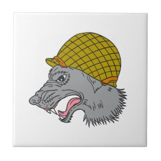 Grey Wolf Head Growling WW2 Helmet Drawing Tile