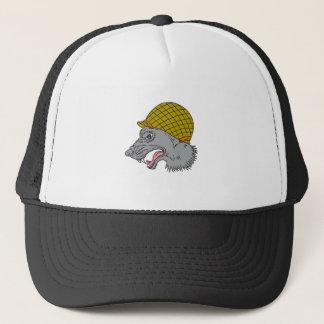 Grey Wolf Head Growling WW2 Helmet Drawing Trucker Hat