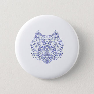 Grey Wolf Head Mono Line 2 Inch Round Button