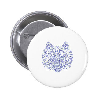 Grey Wolf Head Mono Line 2 Inch Round Button
