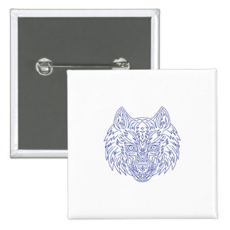 Grey Wolf Head Mono Line 2 Inch Square Button