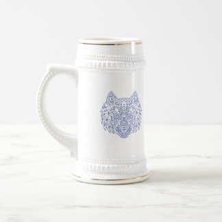 Grey Wolf Head Mono Line Beer Stein