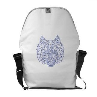 Grey Wolf Head Mono Line Messenger Bag