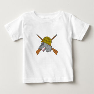 Grey Wolf Head World War 2 Helmet Drawing Baby T-Shirt