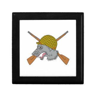 Grey Wolf Head World War 2 Helmet Drawing Gift Box