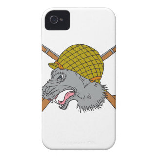 Grey Wolf Head World War 2 Helmet Drawing iPhone 4 Case-Mate Cases