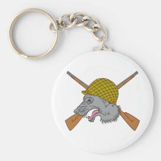 Grey Wolf Head World War 2 Helmet Drawing Keychain