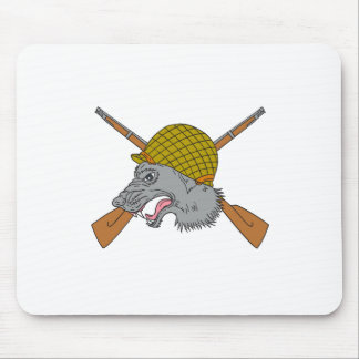 Grey Wolf Head World War 2 Helmet Drawing Mouse Pad
