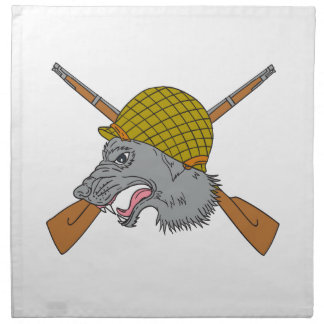 Grey Wolf Head World War 2 Helmet Drawing Napkin