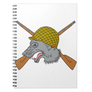 Grey Wolf Head World War 2 Helmet Drawing Notebooks