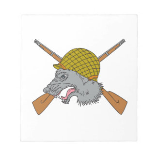 Grey Wolf Head World War 2 Helmet Drawing Notepad