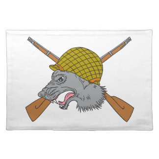 Grey Wolf Head World War 2 Helmet Drawing Placemat