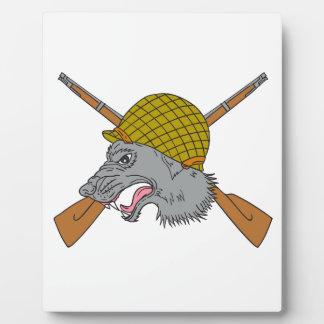 Grey Wolf Head World War 2 Helmet Drawing Plaque