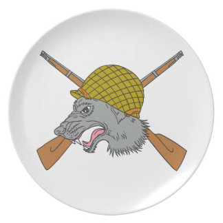 Grey Wolf Head World War 2 Helmet Drawing Plate