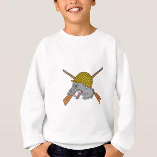 Grey Wolf Head World War 2 Helmet Drawing Sweatshirt