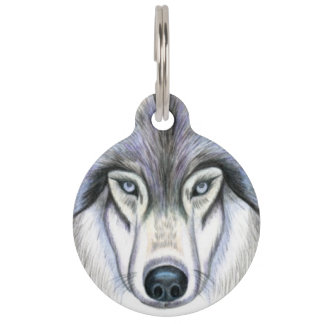 Grey Wolf Pet ID Tag