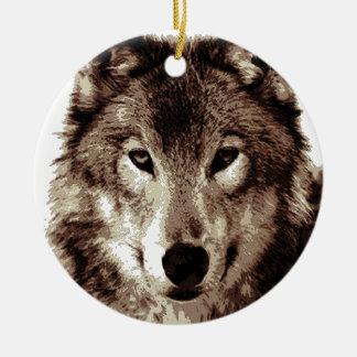 Grey Wolf Round Ceramic Ornament