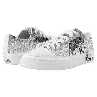 Grey Wolf Sketch Wild Animal Art Low-Top Sneakers