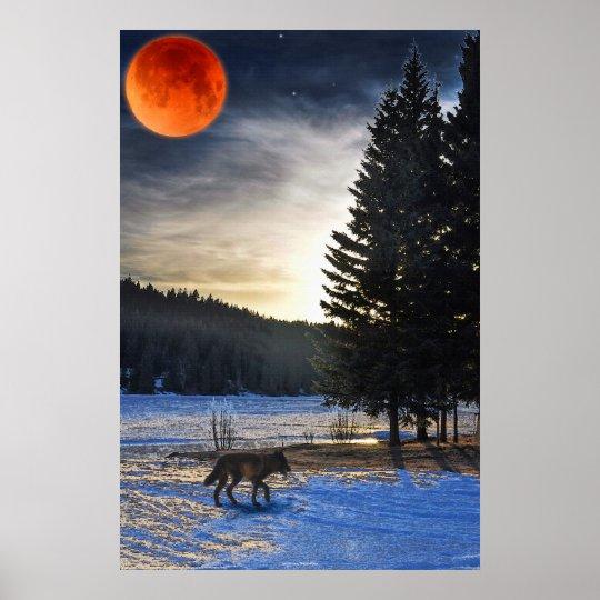 Grey Wolf, Snow, Blood Moon & Lake Wildlife Art Poster