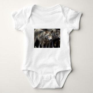 Grey wolf standing baby bodysuit