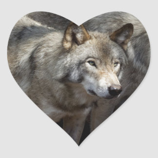 Grey wolf standing heart sticker