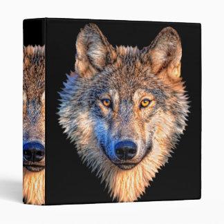 Grey wolf - wolf face 3 ring binder