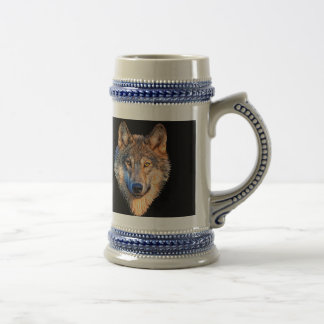 Grey wolf - wolf face beer stein