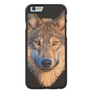 Grey wolf - wolf face carved maple iPhone 6 case