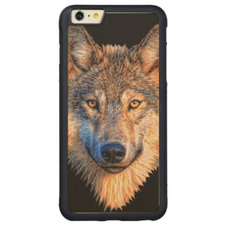Grey wolf - wolf face carved maple iPhone 6 plus bumper case