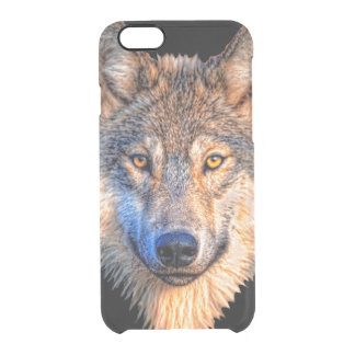 Grey wolf - wolf face clear iPhone 6/6S case