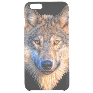 Grey wolf - wolf face clear iPhone 6 plus case