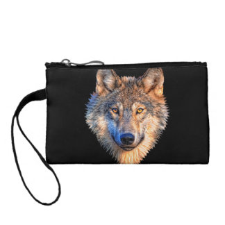Grey wolf - wolf face coin purse