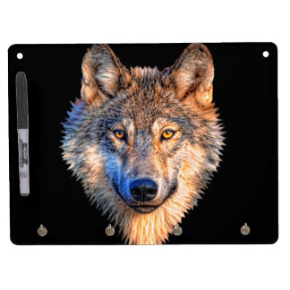 Grey wolf - wolf face dry erase board with keychain holder