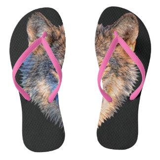 Grey wolf - wolf face flip flops