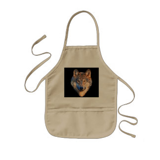 Grey wolf - wolf face kids apron
