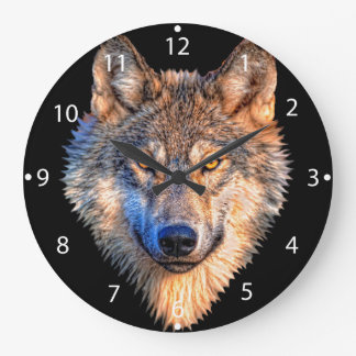Grey wolf - wolf face large clock
