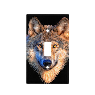 Grey wolf - wolf face light switch cover