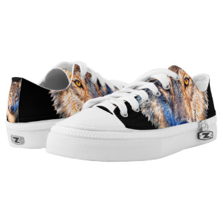 Grey wolf - wolf face Low-Top sneakers