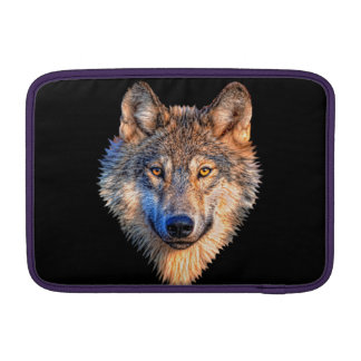 Grey wolf - wolf face MacBook sleeve